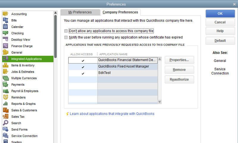 Quickbooks integration with third party software